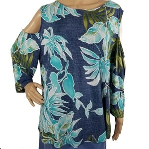 N Touch Cold Shoulder Print Top Size 1X